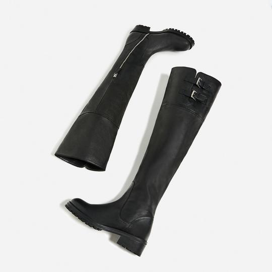 Zara Otk Leather Black Boots Image 2