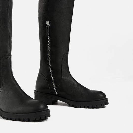 Zara Otk Leather Black Boots Image 3