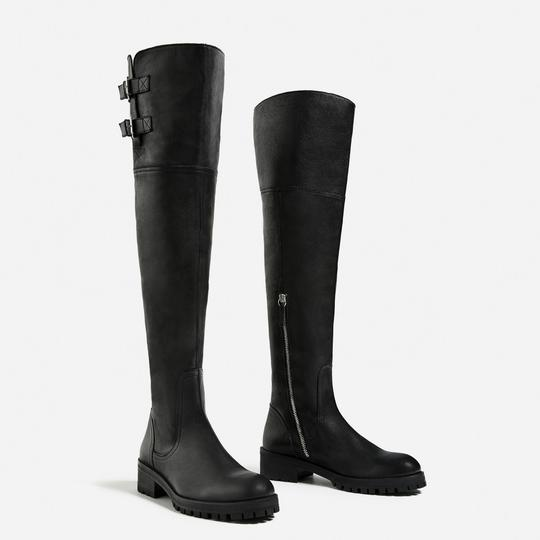 Zara Otk Leather Black Boots Image 4