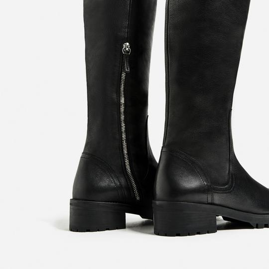 Zara Otk Leather Black Boots Image 5