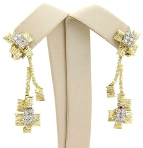 Other Diamond 18k Two Tone Gold Textured Drop Dangle Clip On Earrings