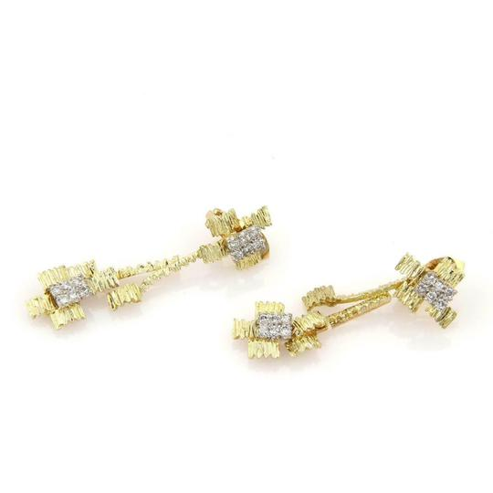 Other Diamond 18k Two Tone Gold Textured Drop Dangle Clip On Earrings Image 1