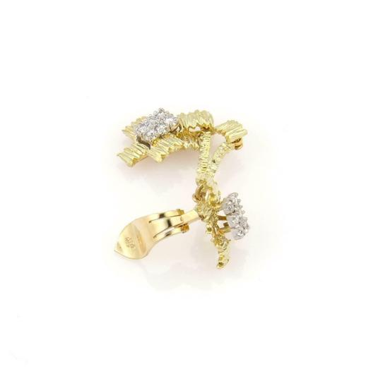Other Diamond 18k Two Tone Gold Textured Drop Dangle Clip On Earrings Image 3