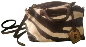 Dooney & Bourke Couture Leather Shoulder Purse Zebra Satchel in Brown White