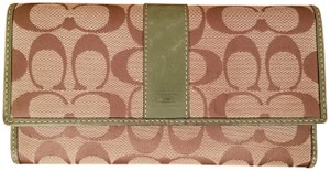 Coach Beige and Green Signature Wallet