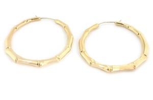 Gucci Bamboo Style 18k Yellow Gold Large Hoop Earrings