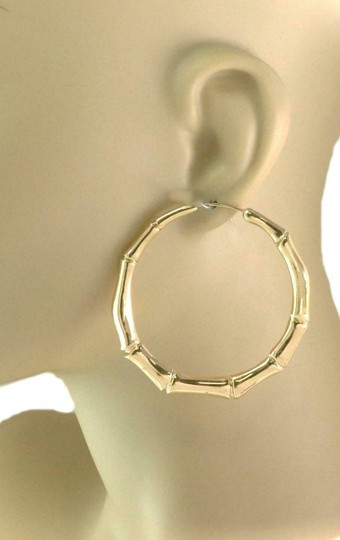 Gucci Bamboo Style 18k Yellow Gold Large Hoop Earrings Image 1