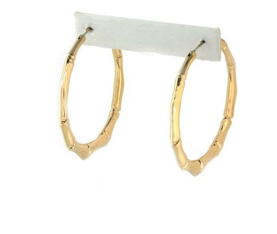 Gucci Bamboo Style 18k Yellow Gold Large Hoop Earrings Image 2