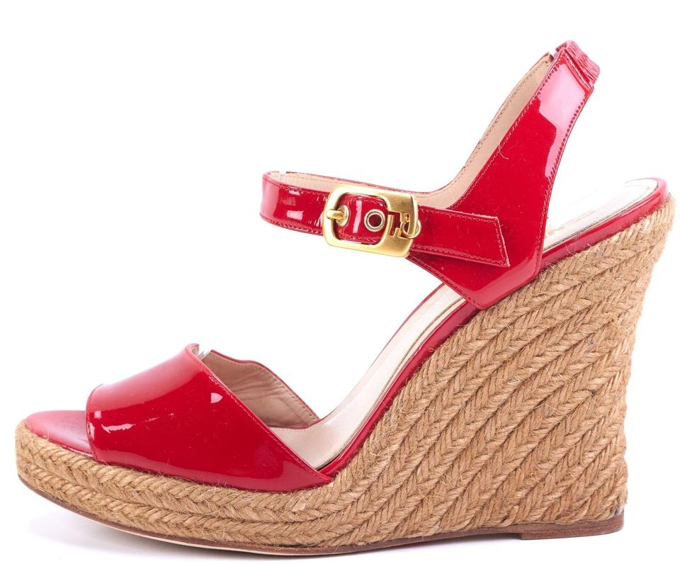 74b2a150104 Fendi Red Patent Leather Espadrille Wedges Size EU 40 (Approx. US 10 ...