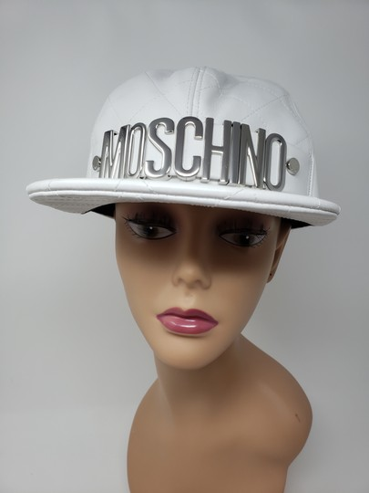 Moschino White Moschino sheepskin quilted letter logo baseball hat L sz Image 1
