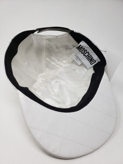 Moschino White Moschino sheepskin quilted letter logo baseball hat L sz Image 10