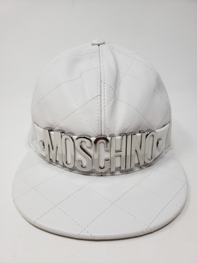 Moschino White Moschino sheepskin quilted letter logo baseball hat L sz Image 2