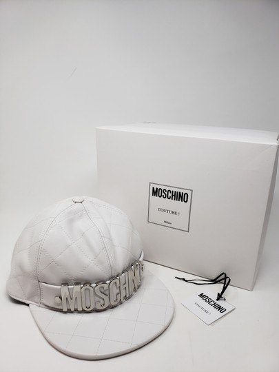 Moschino White Moschino sheepskin quilted letter logo baseball hat L sz Image 3