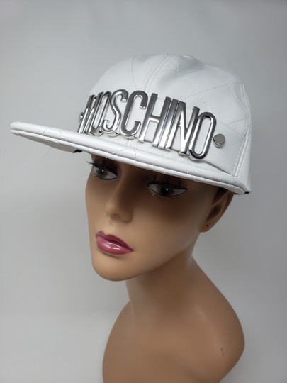 Moschino White Moschino sheepskin quilted letter logo baseball hat L sz Image 4