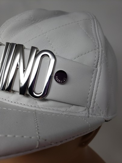 Moschino White Moschino sheepskin quilted letter logo baseball hat L sz Image 5