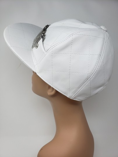 Moschino White Moschino sheepskin quilted letter logo baseball hat L sz Image 7