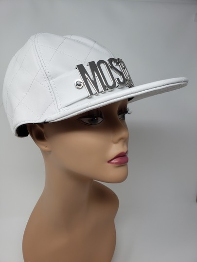 Moschino White Moschino sheepskin quilted letter logo baseball hat L sz Image 8