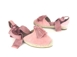 Aquazzura Suede Fabric Tassel Espadrille Lace Up Pink Flats