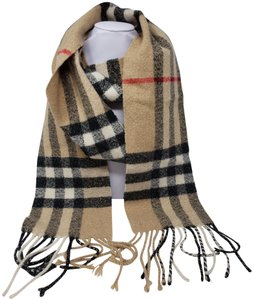 Burberry Beige, black multicolor Burberry Nova Check cashmere scarf