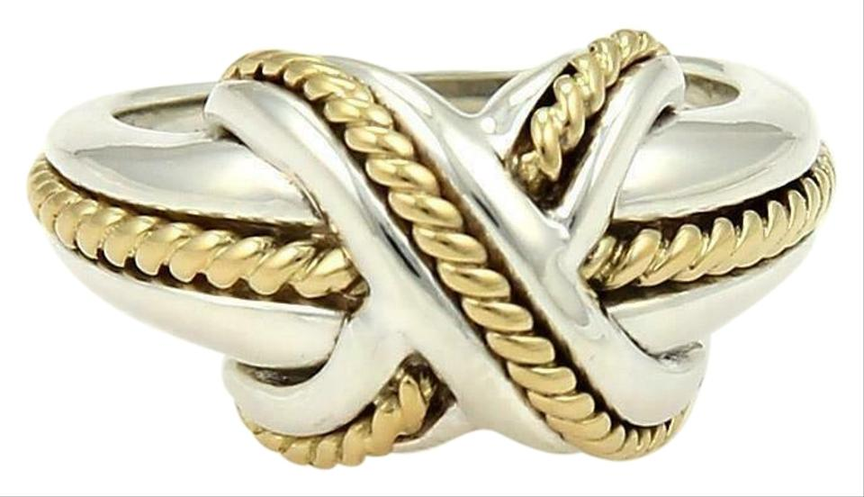 2b34b981b Tiffany & Co. Sterling 18k Yellow Gold X Crossover Ring Size - 4.25 Image 0  ...