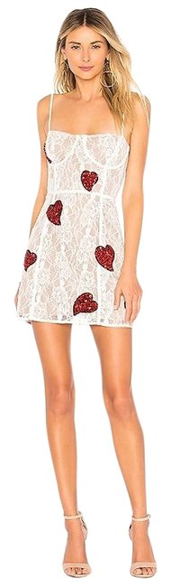 Item - White Red Christy Lace Sequin Mini Short Cocktail Dress Size 4 (S)