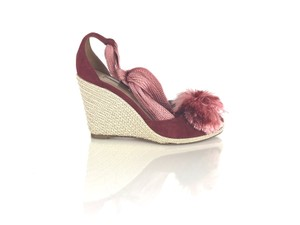 Aquazzura Sandals Espadrilles Lace Up Red Wedges