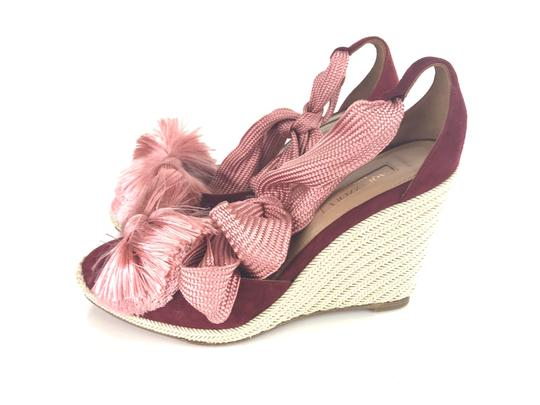 Aquazzura Sandals Espadrilles Lace Up Red Wedges Image 7