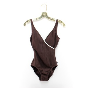 Nautica Nautica Brown Cable Knit Scoop Back Faux Wrap One Piece Swimsuit