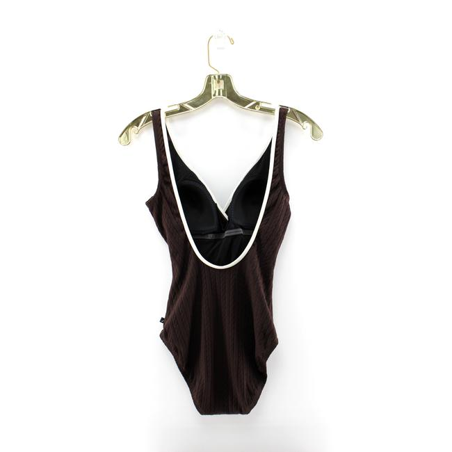 Nautica Nautica Brown Cable Knit Scoop Back Faux Wrap One Piece Swimsuit Image 3