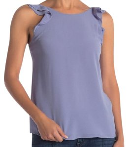 Naked Zebra Tie Back Ruffle Sleeveless Flowy Draped Top Stone Grey (Periwinkle)