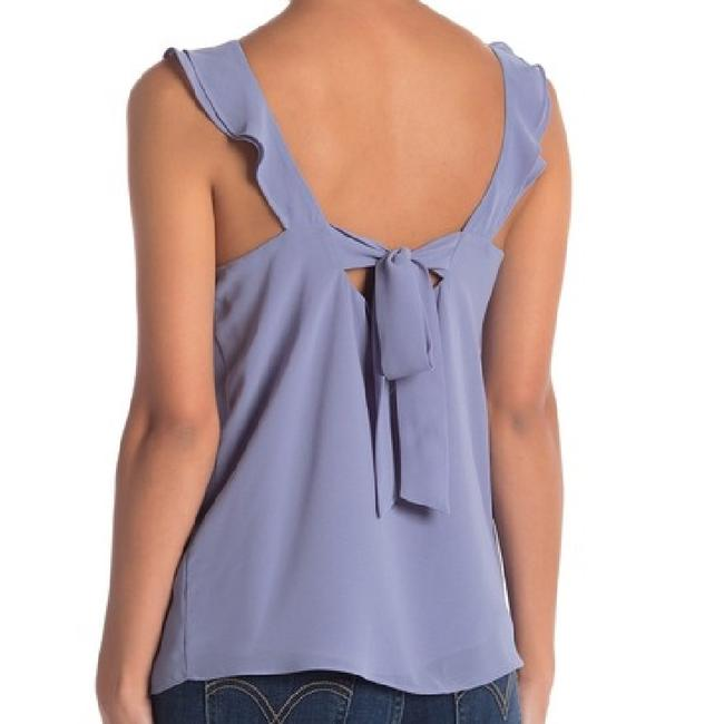 Naked Zebra Tie Back Ruffle Sleeveless Flowy Draped Top Stone Grey (Periwinkle) Image 1