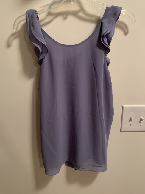 Naked Zebra Tie Back Ruffle Sleeveless Flowy Draped Top Stone Grey (Periwinkle) Image 2