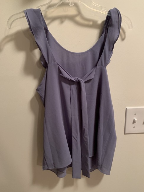 Naked Zebra Tie Back Ruffle Sleeveless Flowy Draped Top Stone Grey (Periwinkle) Image 3