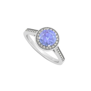 Marco B December Birthstone Created Tanzanite and Cubic Zirconia Halo Engageme