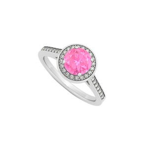 Marco B September Birthstone Created Pink Sapphire and Cubic Zirconia Halo Eng