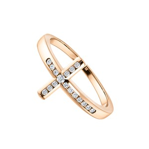 DesignByVeronica Pink Hue 14K Rose Gold CZ Accented Sideways Cross Ring