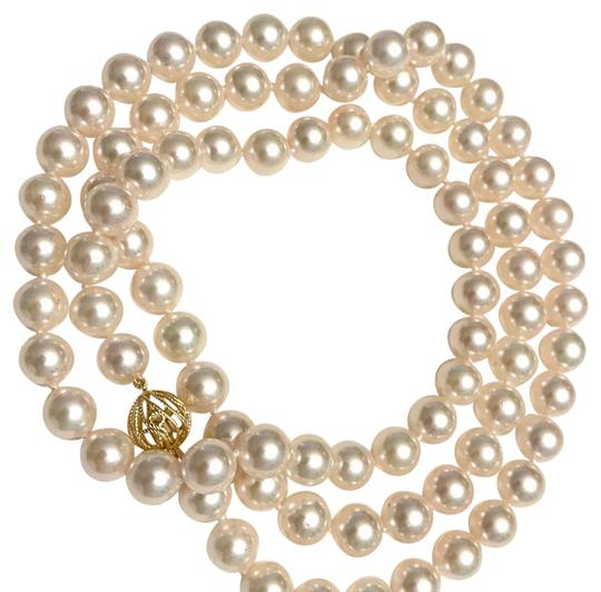 Estate CERTIFIED 5 900 LARGE 8.5 MM AKOYA PEARL 30 IN 14KT NECKLACE 13382 Image 3