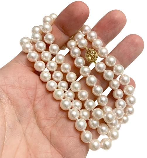 Estate CERTIFIED 5 900 LARGE 8.5 MM AKOYA PEARL 30 IN 14KT NECKLACE 13382 Image 6
