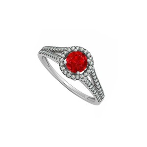 Marco B July Birthstone Created Ruby with CZ Halo Split Shank Engagement Ring