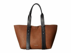 Calvin Klein Faux Leather With Tag Tote in Brown
