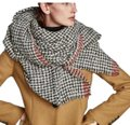 Zara Soft feel houndstooth scarf with contrasting striped detail Image 0