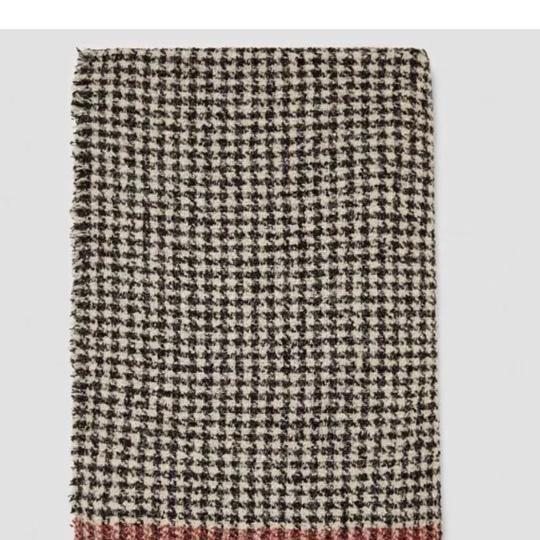 Zara Soft feel houndstooth scarf with contrasting striped detail Image 1