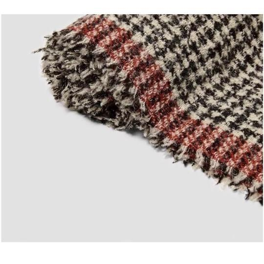 Zara Soft feel houndstooth scarf with contrasting striped detail Image 2