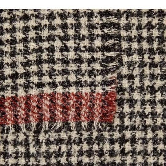 Zara Soft feel houndstooth scarf with contrasting striped detail Image 3
