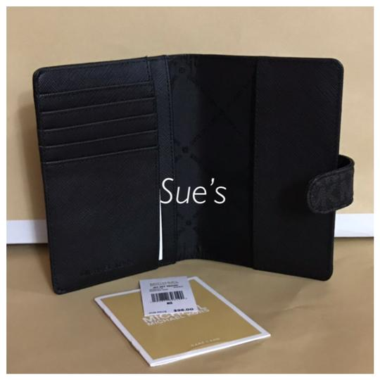 Michael Kors nwt mk Signature Passport Holder- Black Image 2