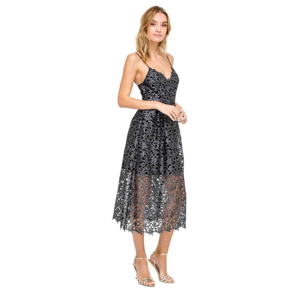 Astr Metallic Silver The Label Overlay Lace Midi Mid Length Cocktail Dress Size 0 Xs 39 Off Retail