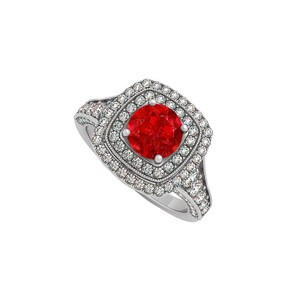 Marco B Created Ruby and CZ Double Halo White Gold Engagement Ring