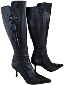 Chanel Patent Leather Gold Hardware Camellia Interlocking Cc Pointed Toe Black Boots