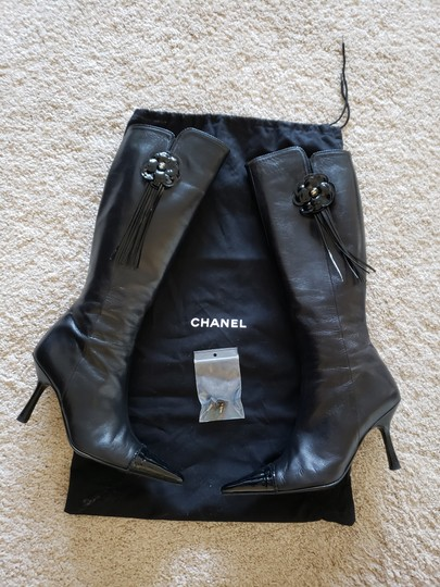 Chanel Patent Leather Gold Hardware Camellia Interlocking Cc Pointed Toe Black Boots Image 1