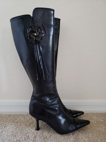 Chanel Patent Leather Gold Hardware Camellia Interlocking Cc Pointed Toe Black Boots Image 3
